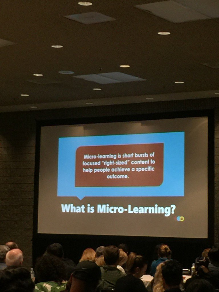 #Microlearning - right size unit and available now. To help someone solve problem. #atd2017 @stipton #learningrebels https://t.co/HCyCdLA8lz