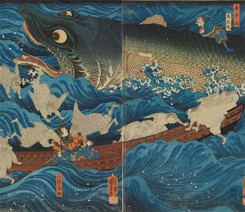 歌川国芳の代表作である巨大なワニザメ。絵そのものは有名かと思いますが、実は馬琴の小説『椿説弓張月』が元ネタになっています
