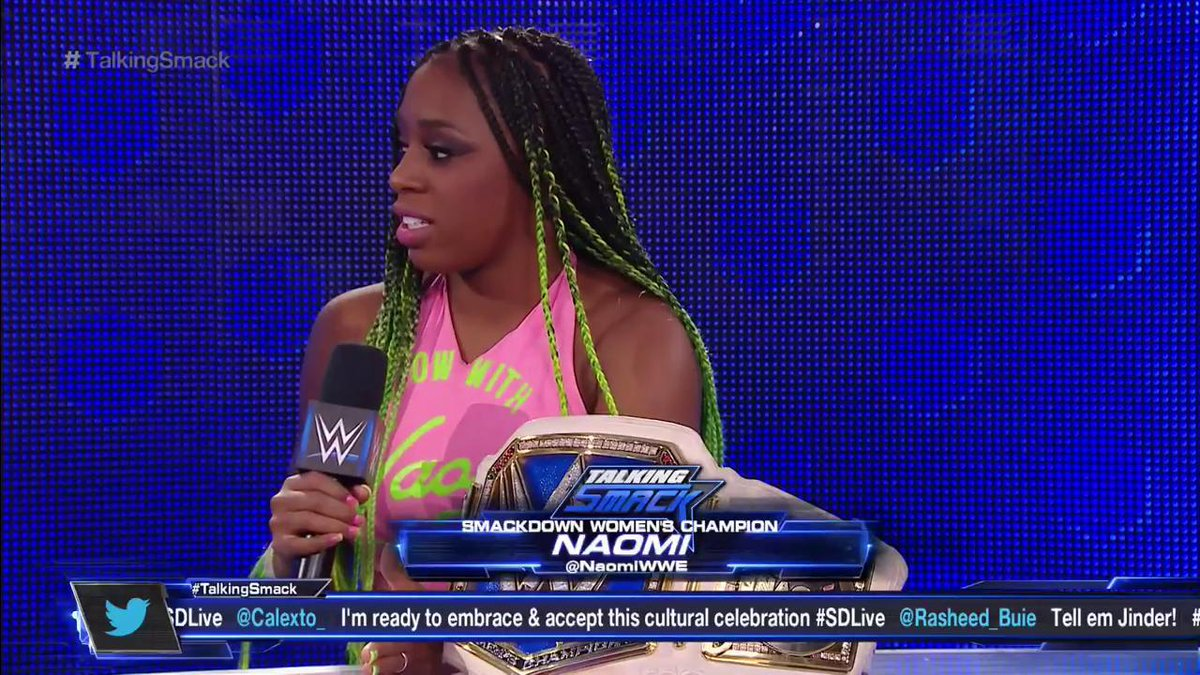 #SDLive #WomensChampion @NaomiWWE is bringing the GLOW on #TalkingSmack, RIGHT NOW on @WWENetwork!
