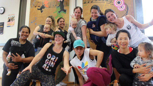 Mums keep to the beat at MotherFunk baby wearing dance class