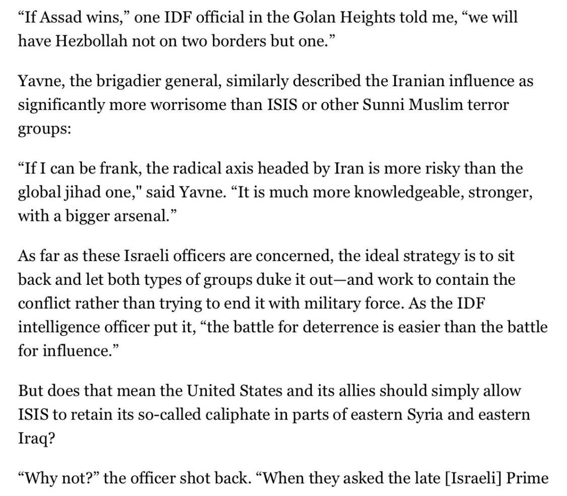 Israeli Officers Explain Why They Prefer ISIS/al-Qaida to Assad https://t.co/GSKeR6v0n8 via @politicomag https://t.co/NDaJEI0QrR
