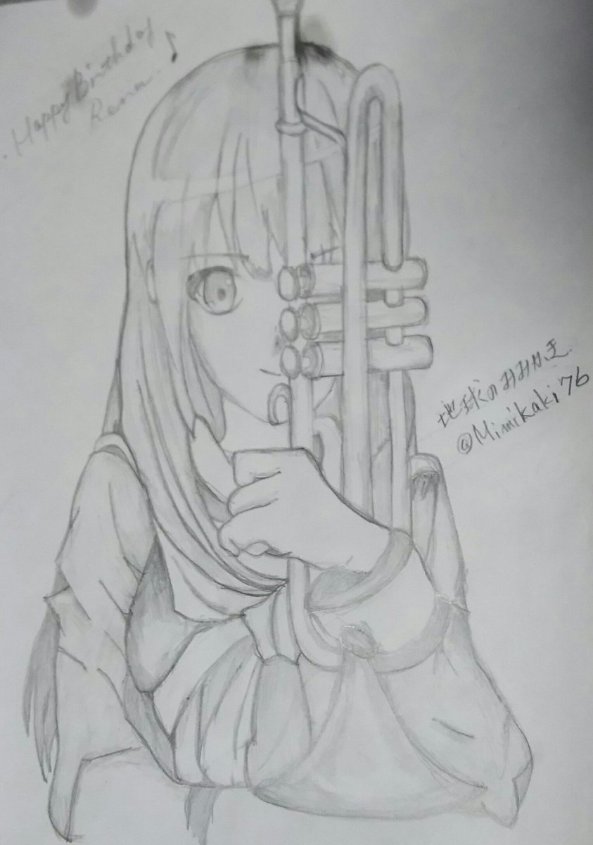 Happy Birthday麗奈٩(>ω<*)وはじめて描いてみました(^_^;)難しいけど少し楽しくなって