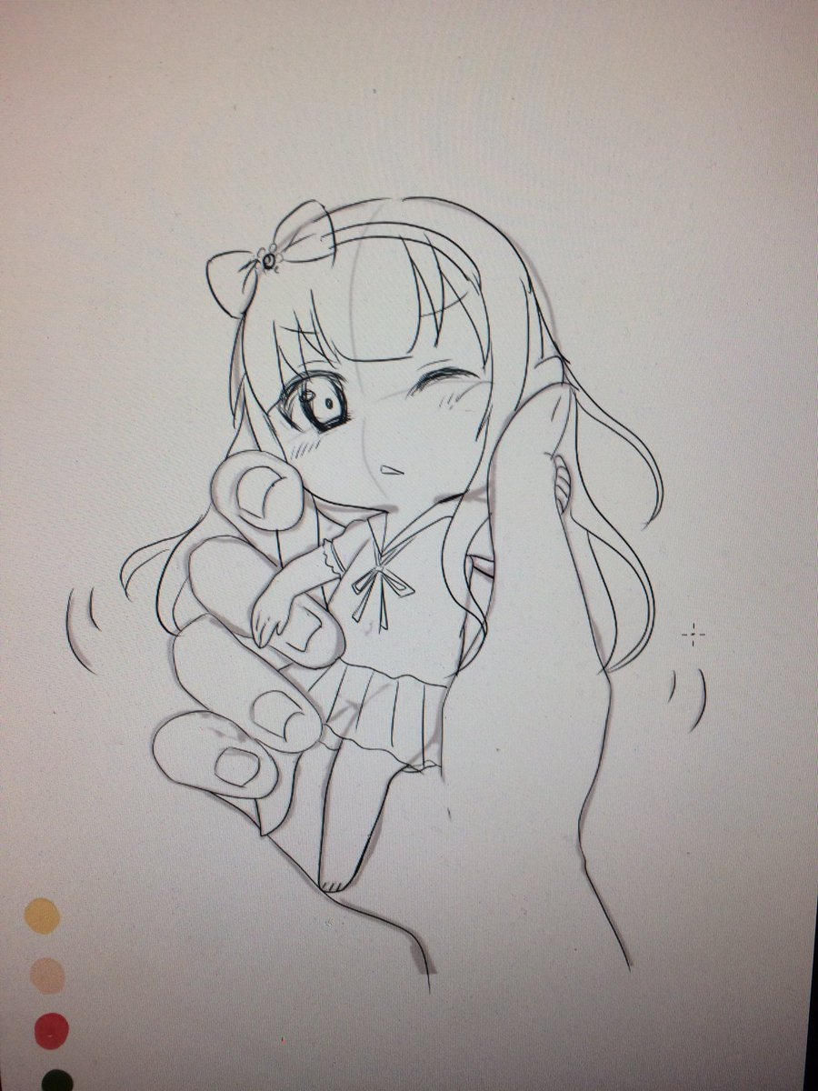 例の素材借りて変猫の小豆梓ちゃん描いてる