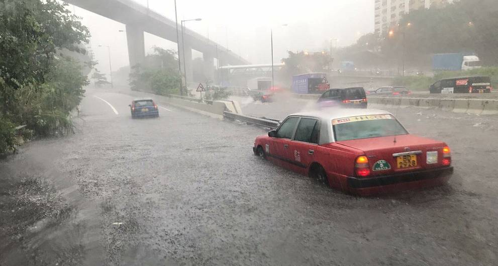 Heavy downpour brings disruption to Hong Kong