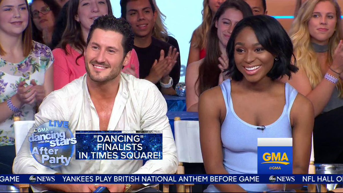 Surprise! A very special message from @FifthHarmony for @NormaniKordei & @iamValC! #DancingOnGMA #DWTS