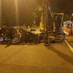 Man, 27, dies after his car rams into excavator in Upper Jurong Road