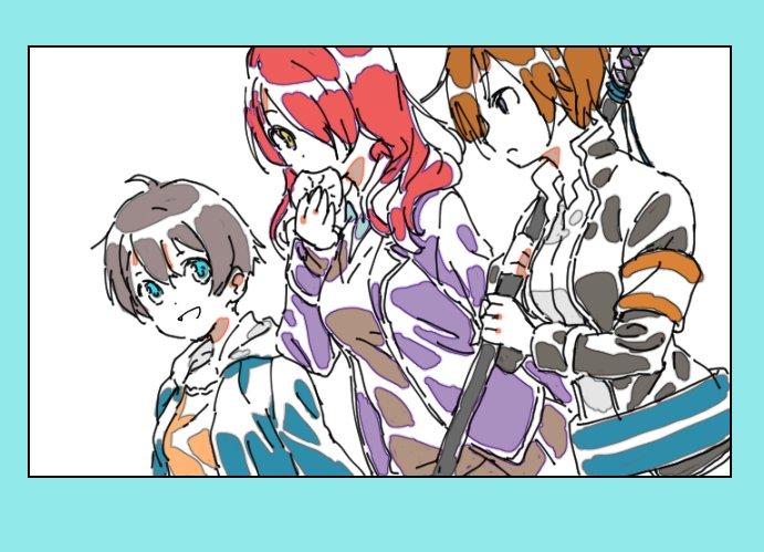 うらら迷路帖の色井佐久さんとNEW GAME!の篠田はじめさんと食戟のソーマの小林竜胆さんが3人で仲良く話しているところ