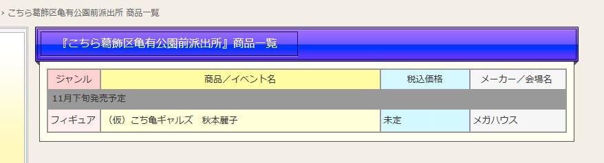 キ、キタコレーーーっっ!!!こち亀ギャルズ 秋本麗子 スケールフィギュア!!11月下旬発売予定 メーカー/メガハウスメガ