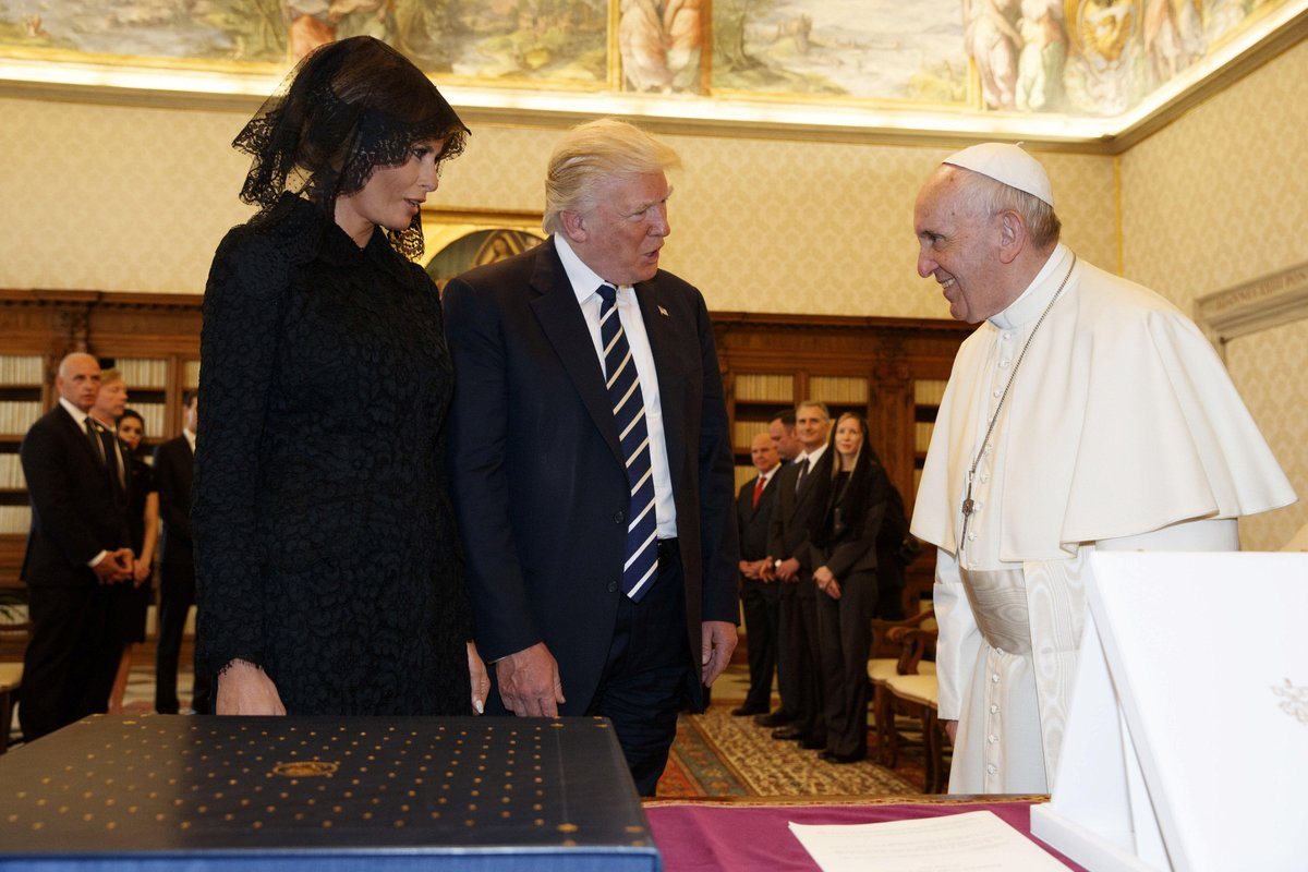 Pope asks first lady Melania Trump what she feeds the president