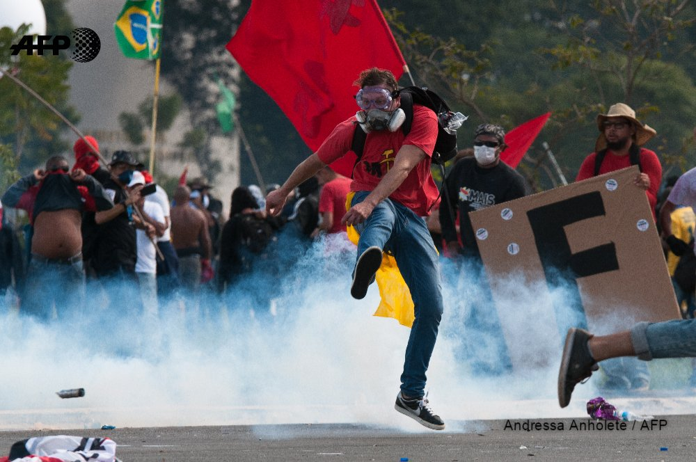 Violence erupts at protest against Brazil's Temer, austerity