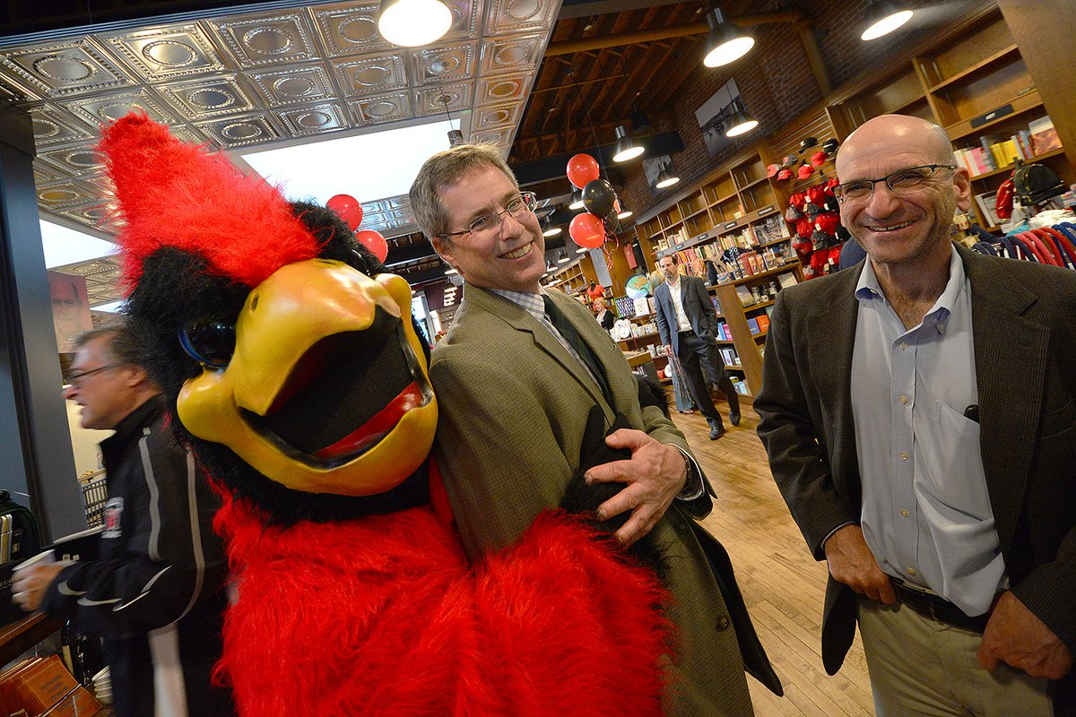 test Twitter Media - A cameo with the Cardinal at opening of @wesleyan_u @rjjulia 's new bookstore. Very proud of all who made it happen, including @WesleyanITS https://t.co/q9n5OOLJw0