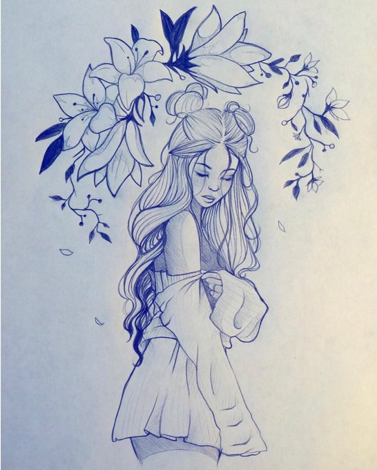 Mechanical pencil drawing by https://t.co/OSSCmNgqhA  I've always wanted to be a lil animated fairy 🌼🍃🌸✨