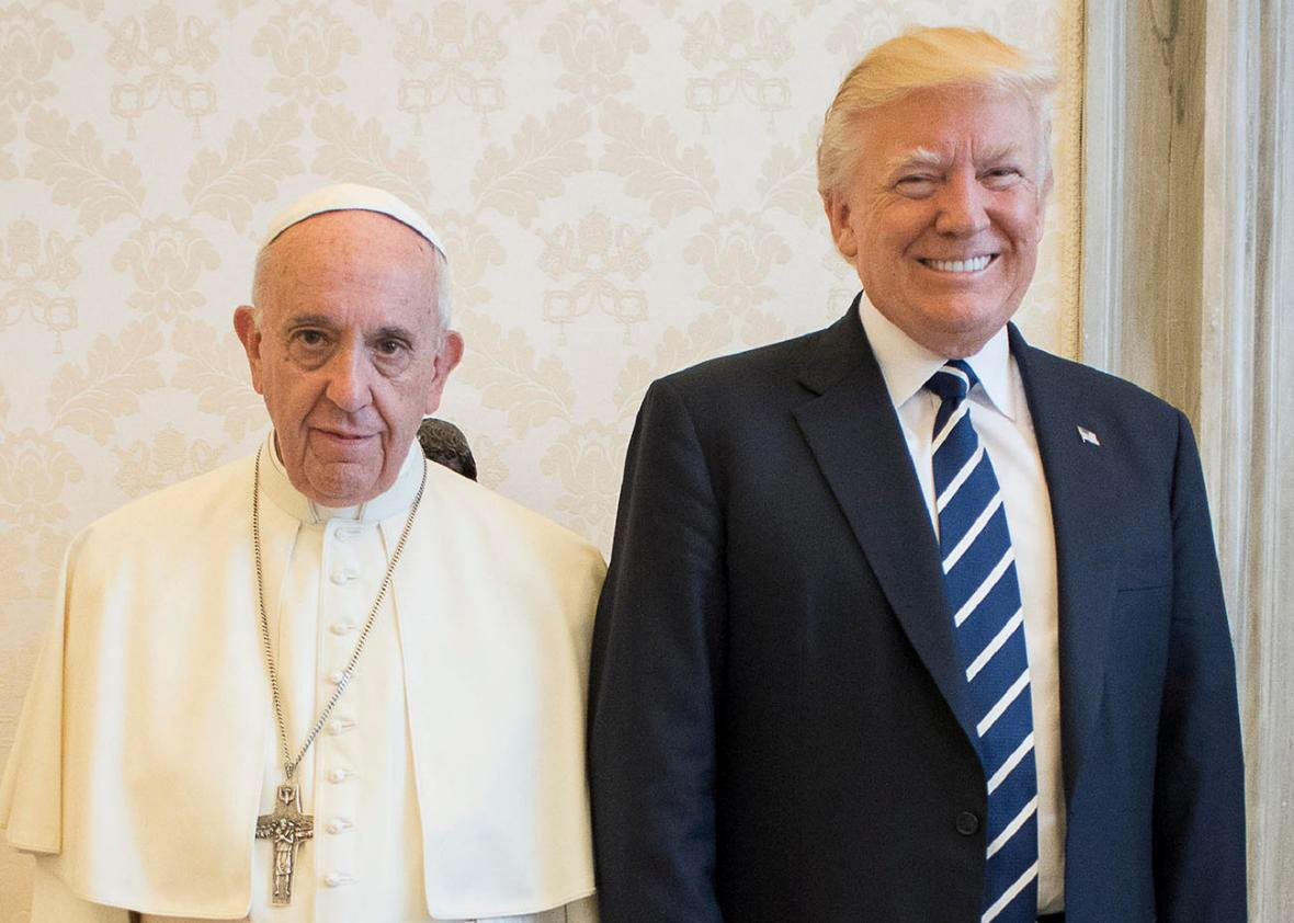 The Pope looks like his mom made him invite Trump to his birthday party. https://t.co/oT8nSeEcfP