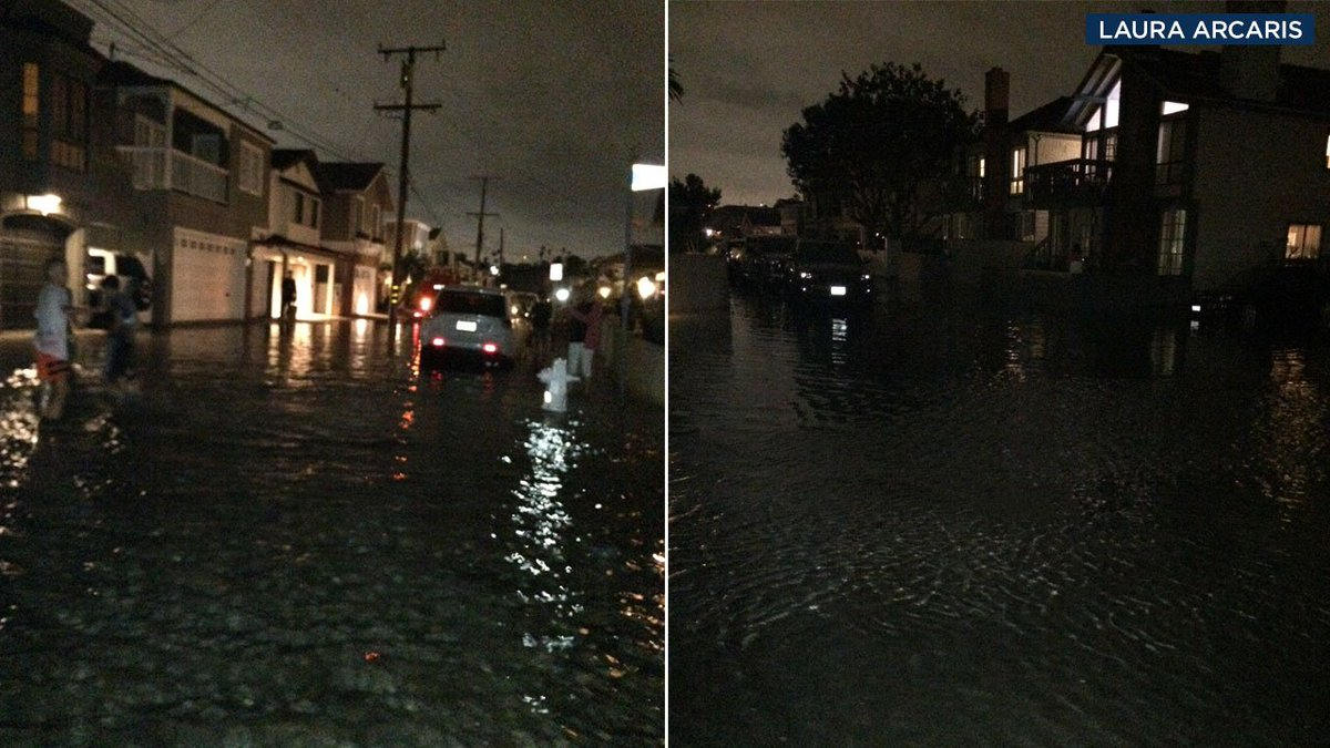 #BREAKINGNEWS Newport Beach neighborhood flooded after seawall destroyed