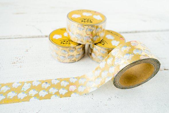 ご好評により、タマ&フレンズのマスキングテープ第二弾が新発売です! 今回はなんと箔押し!!特別感のあるマスキングテープは