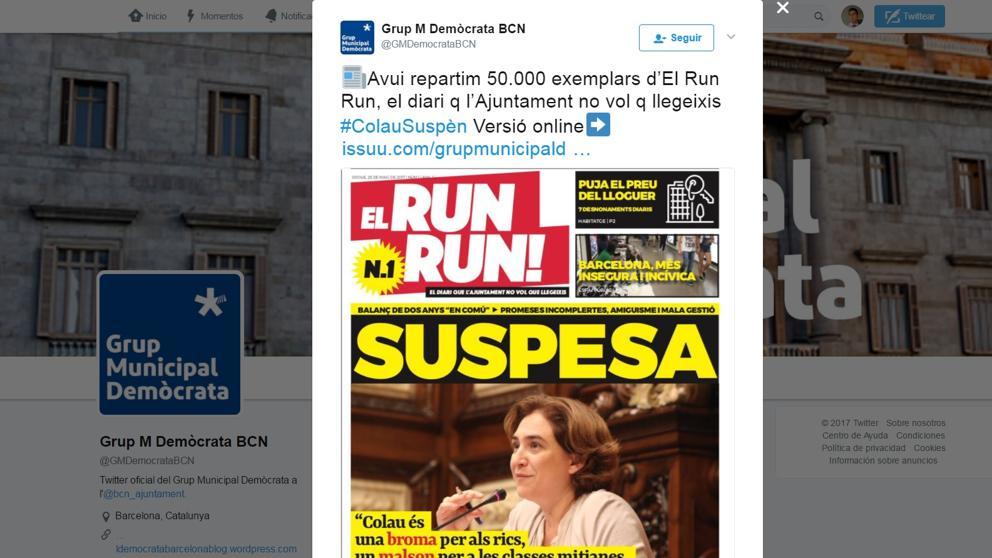 """El PDeCAT recoge la """"mala gestión"""" de Colau en el diario 'El Run Run' https://t.co/Ng14OLJvrQ https://t.co/6Dh0SIGcDK"""