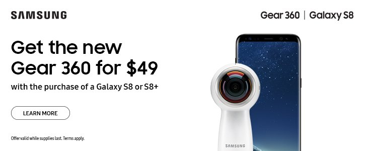 Get the new Gear 360 for $49 with the purchase of a Galaxy S8 or S8+ #Samsung...