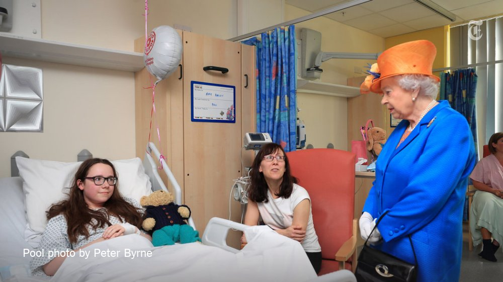 Queen Elizabeth II visited victims at a Manchester hospital