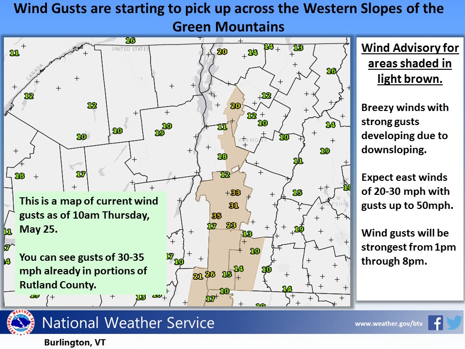 test Twitter Media - Gusty winds already underway in portions of Rutland County. Expect downsloping off Green Mtns to increase and become more widespread #vtwx https://t.co/FhoYdkngim