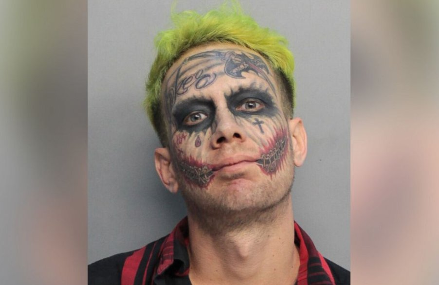 Police arrest man resembling the Joker who aimed a loaded gun at drivers in Florida.