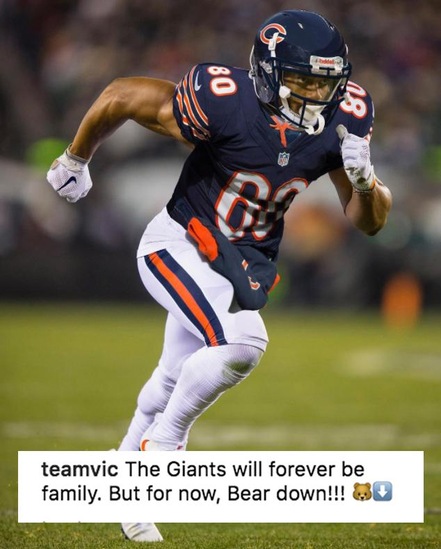 Victor Cruz didn't waste any time putting himself in a Bears jersey. (via @TeamVic)