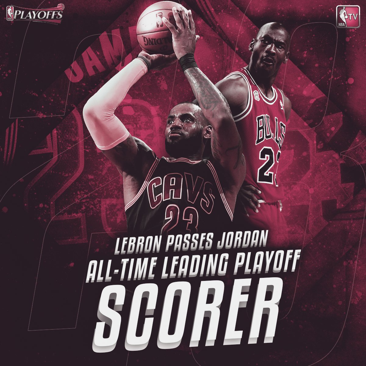 LeBron James moves past Michael Jordan to become the all-time #NBAPlayoffs leading scorer.