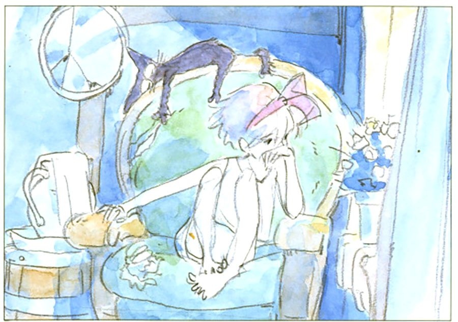 Concept watercolor art for Kiki's Delivery Service 魔女の宅急便 (1