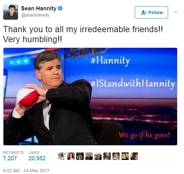 Sean Hannity currently threatening Fox News with 'We Go If He Goes' campaign... https://t.co/U8hlgt7hlB