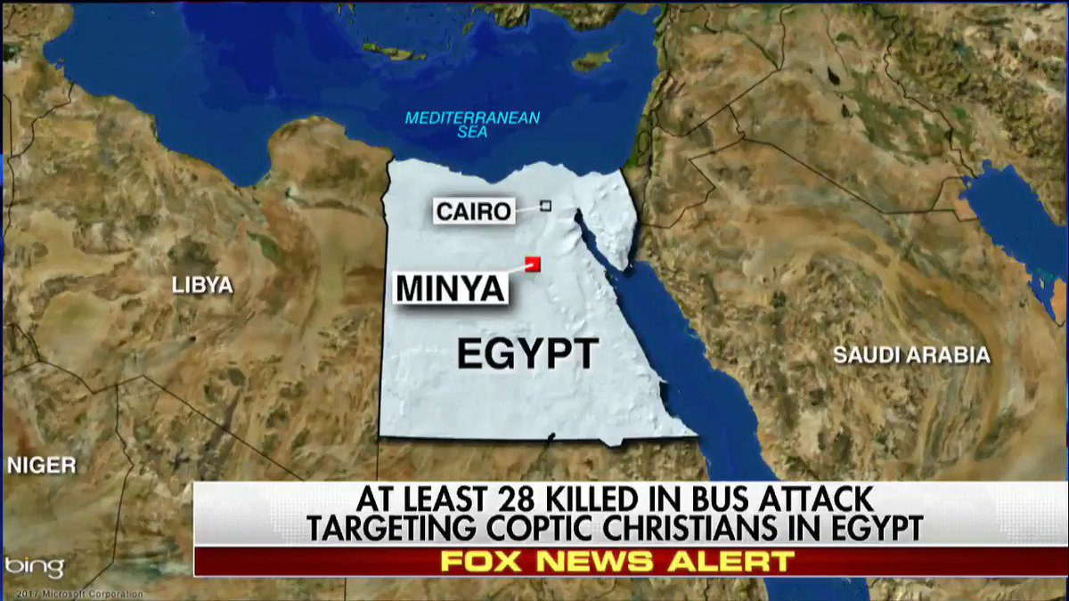 At least 28 killed in bus attack targeting Coptic Christians in Egypt.