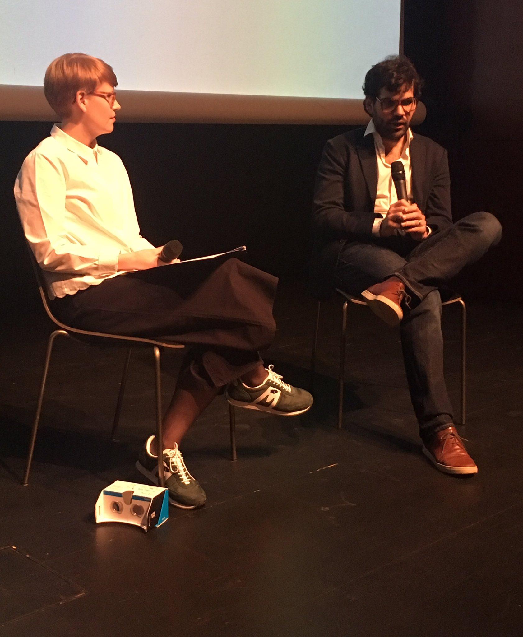 Milja Liimatainen interviews @axelote at #Kiasmatheatre about Straschnoy's #VR work #TheDetective #arsplus #ARS17 @KiasmaMuseum https://t.co/4YhMUmJNRn