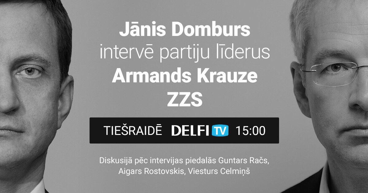'Delfi TV ar Jāni Domburu': partiju līderi – intervija ar ZZS vadītāju Armandu Krauzi