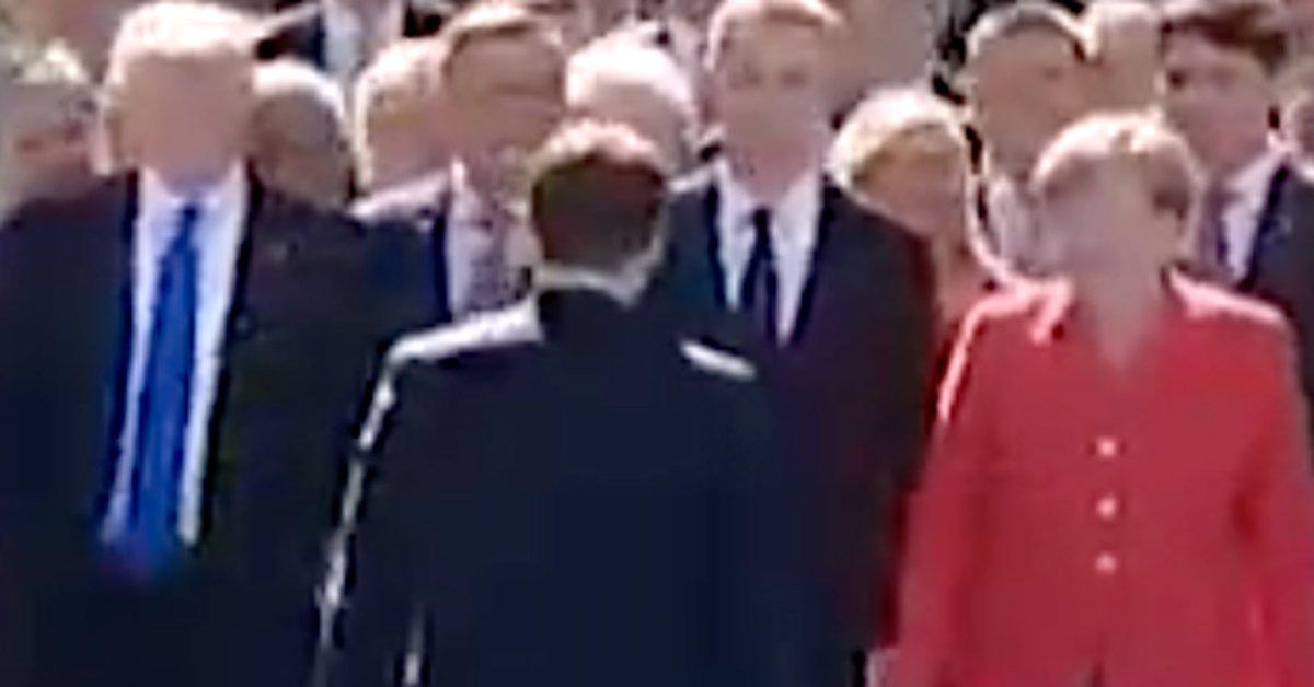 That moment when Macron swerves Trump to hug Merkel instead