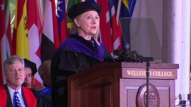 Hillary Clinton compares Trump to Nixon in a speech at her alma mater