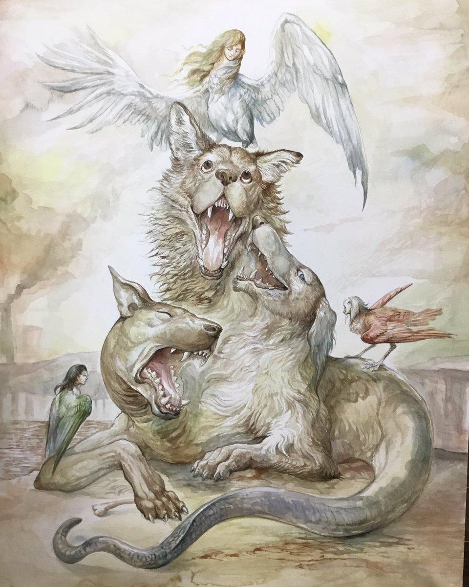 Cerberus and harpys地獄の沙汰も歌次第B2水彩2017年8月10日から東京交通会館にて展示予定です。#