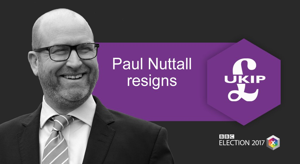 UKIP leader Paul Nuttall quits following #GE2017   https://t.co/8rmtvdo4QS #bbcelection #hungparliament https://t.co/QpwcxZcyq6