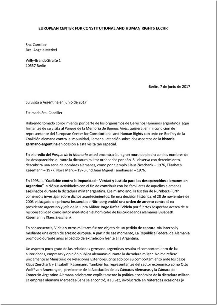 Carta del European Center for Constitucional and Human Rights a la canciller alemana Angela Merkel https://t.co/ueP4dJTyYP