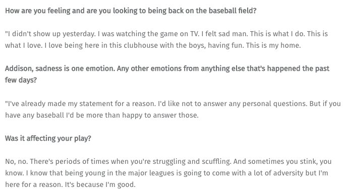 There are softball questions and then there's the first 3 Addison Russell got today: https://t.co/yiOEDRbz1S