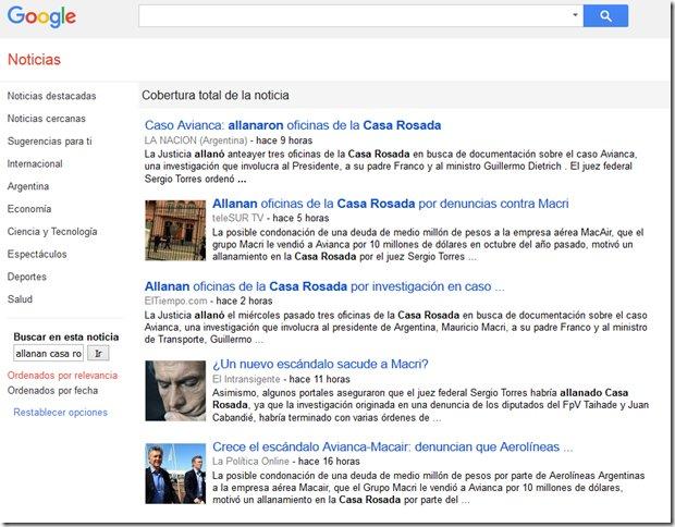 Y el allanamiento a Casa Rosada bueno, lo buscamos en google y nos dió esto. 5 resultados. Será problema de google? https://t.co/yGLjAbjGz7