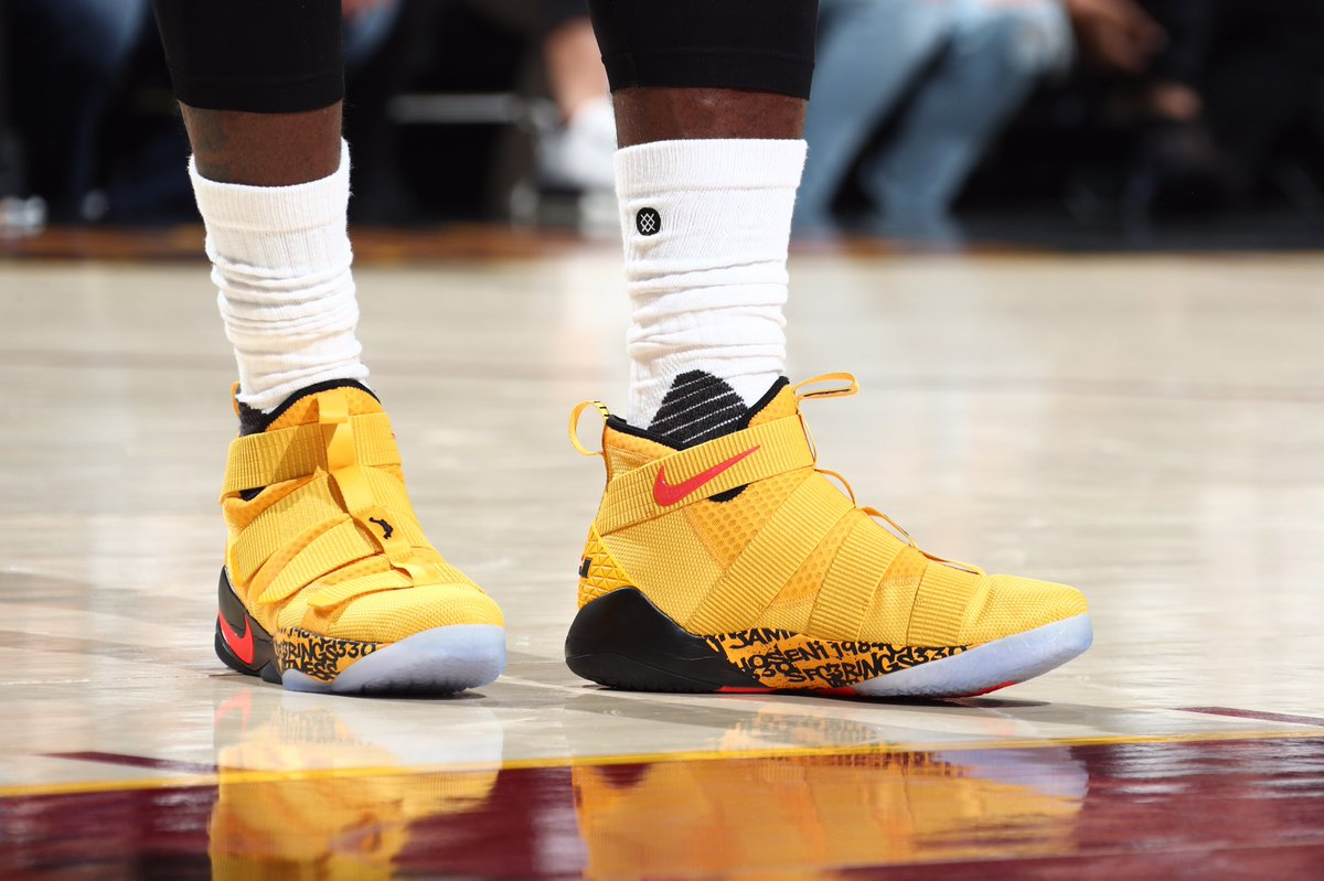e8dc330b7bc1 lebron james in the nike zoom lebron soldier 11 pe for game 4 of the  nbafinals
