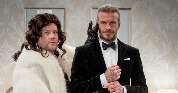 David Beckham stole James Corden's thunder at a James Bond audition, naturally: