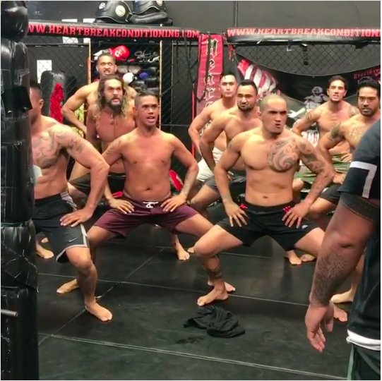 WATCH: 'Aquaman' Jason Momoa performs the Haka with MMA fighters https://t.co/jvcxVtqAzc https://t.co/erEBvUQ1nI