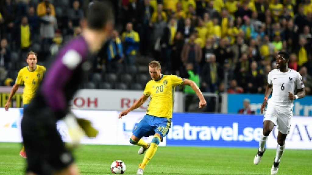 Sweden beats France with dramatic goal from half-way line