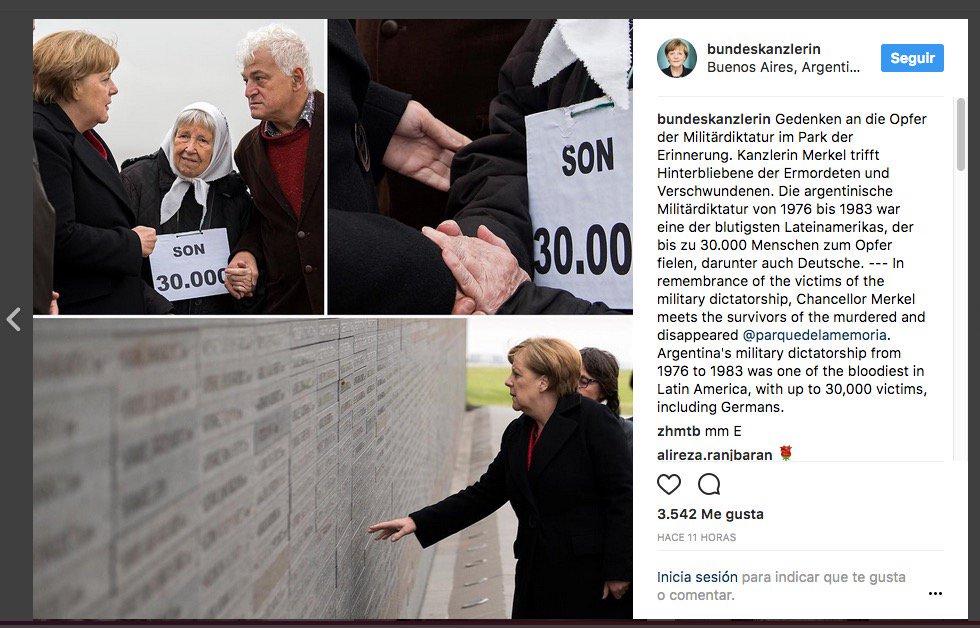 La canciller alemana Angela Merkel en su instagram sobre su visita a la Argentina. https://t.co/sUAP8gvtcI