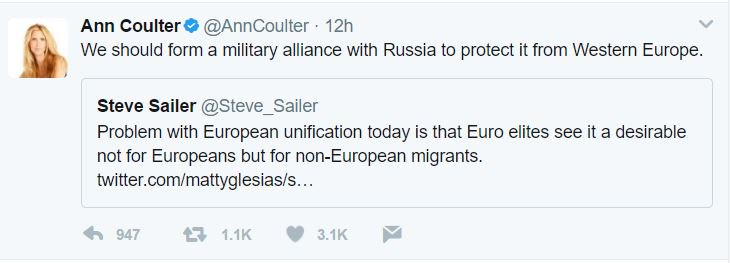I see these two tweets back to back and I want to ask: Is Ann Coulter a paid Russian agent? https://t.co/u1WfeLZkYN