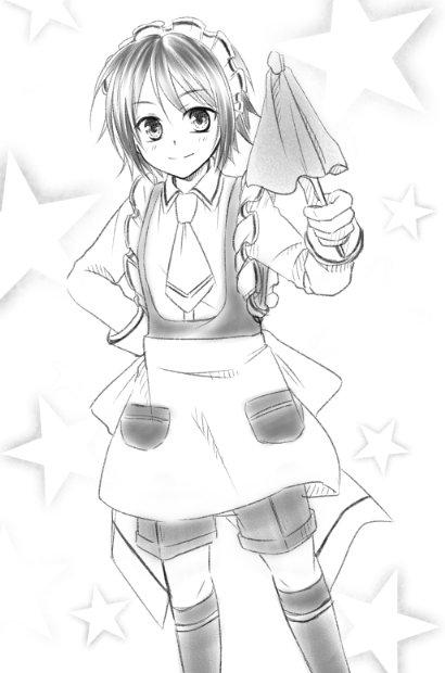 > 少年メイドのちーちゃんをお願いします!  #odaibako前に落書きで描いたことあるんですけど…難しいですね