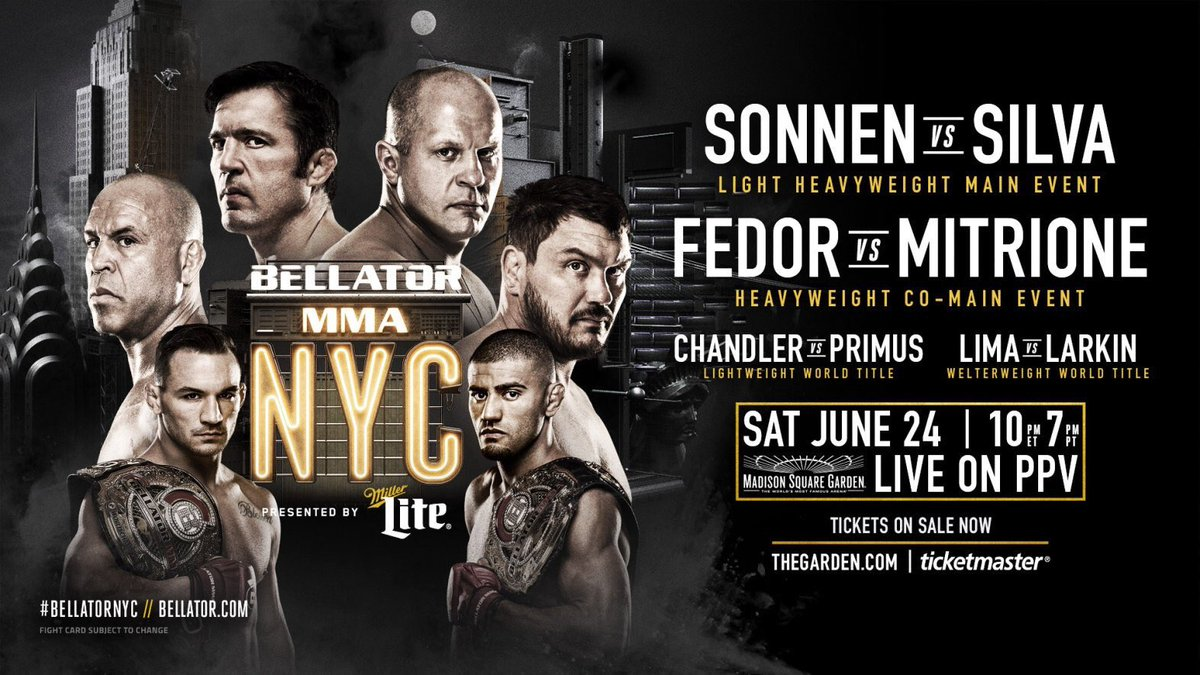 #BellatorNYC | June 24th | Live on PPV!  Full Card & Updates ➡️ https://t.co/EtTreOpxhd https://t.co/eXLSxHEN0Z