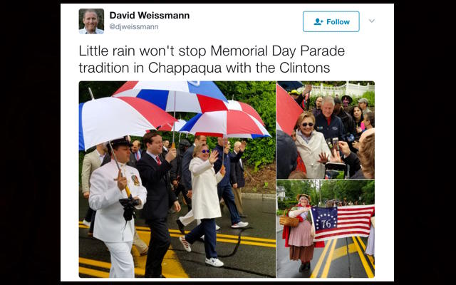 Clinton marches in Memorial Day parade in Chappaqua