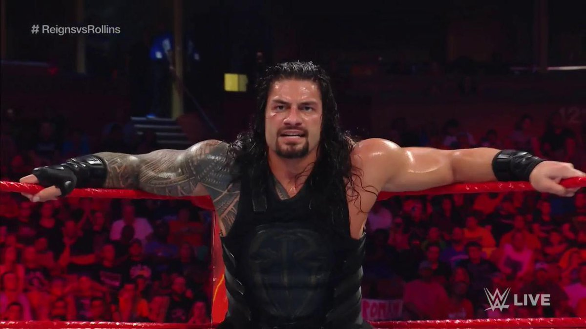 You DON'T want to look across the ring and see THIS! #RAW #ReignsvsRollins @WWERomanReigns