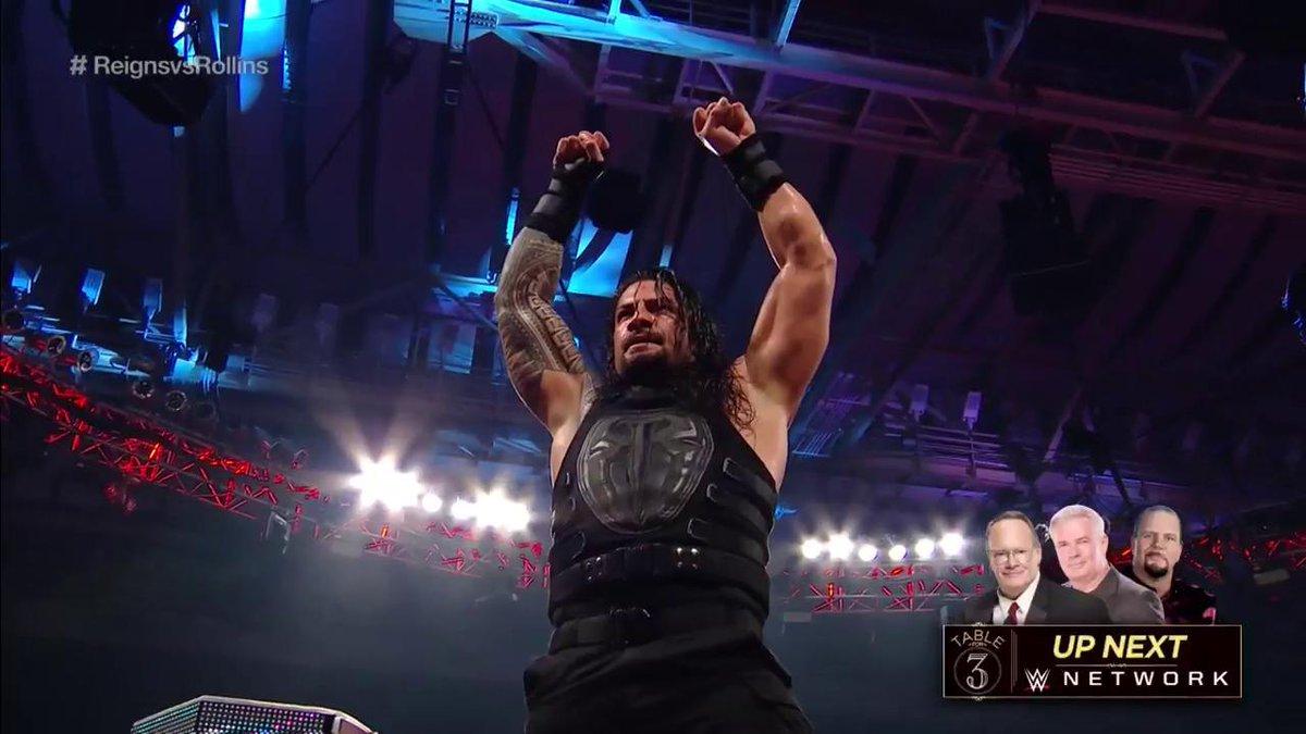 A valiant effort from @WWERollins, but it is in fact #TheBigDog @WWERomanReigns' YARD tonight! #RAW