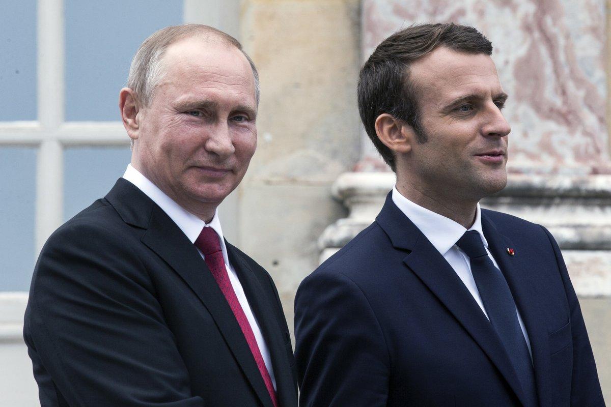 Macron stands ground with Putin, hits Russia media's 'lying propaganda'